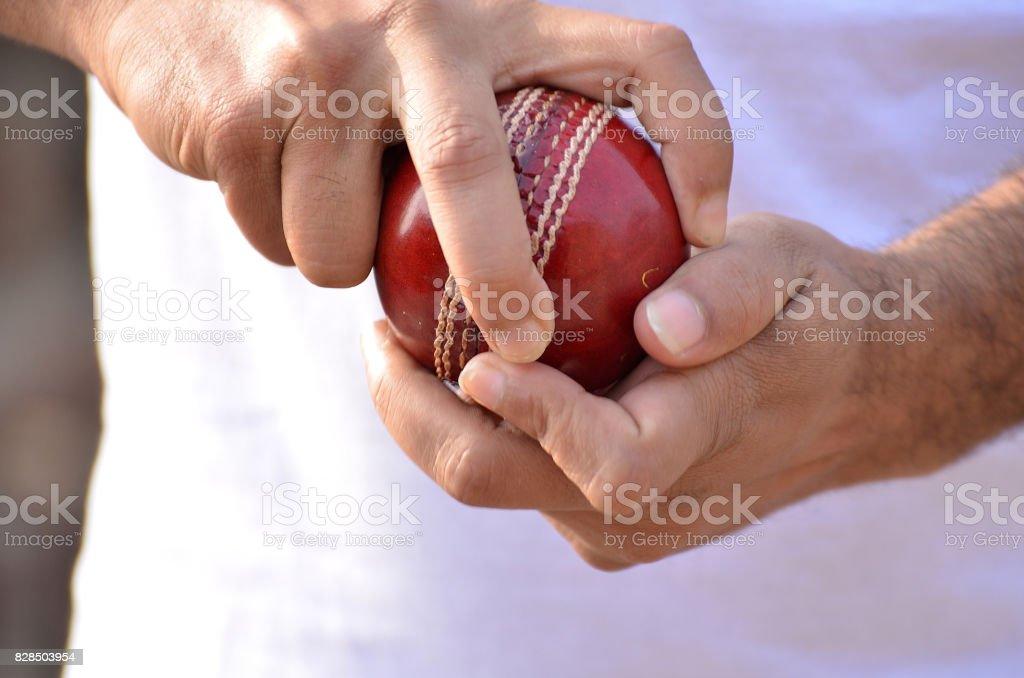 Cricket spin bowler stock photo