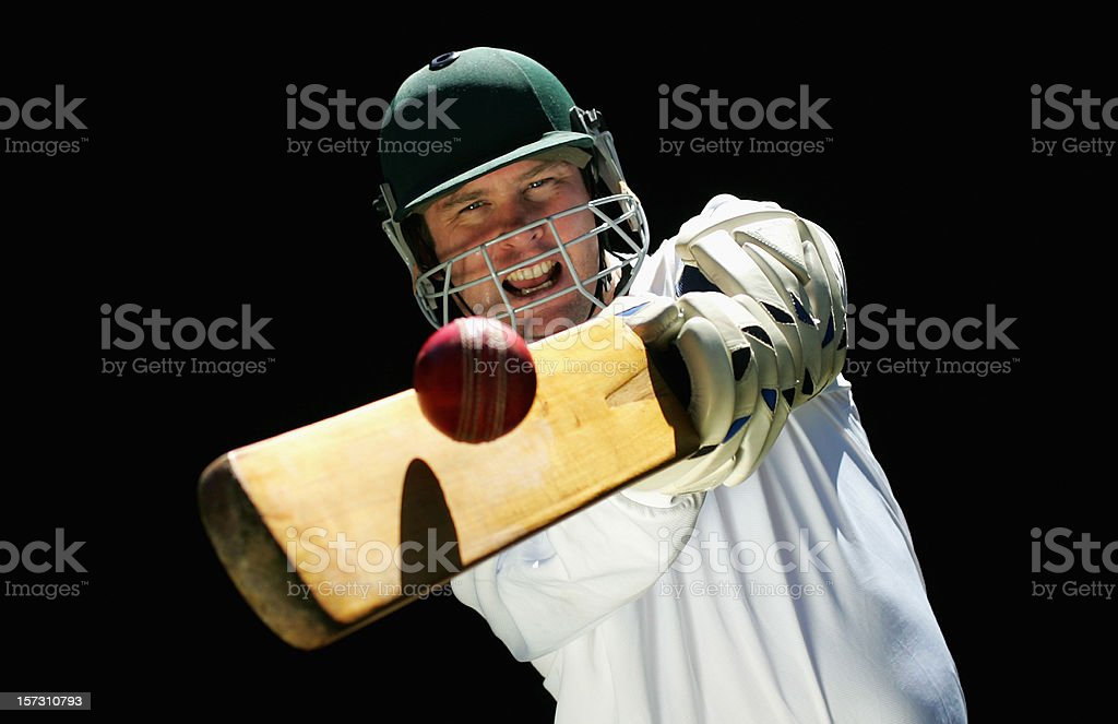 Cricketer Playing a Shot stock photo