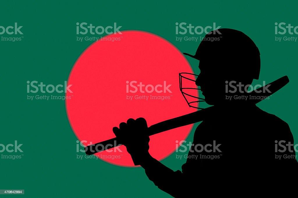 Cricketer Silueta en Bangladesh borrosa fondo de bandera de - foto de stock