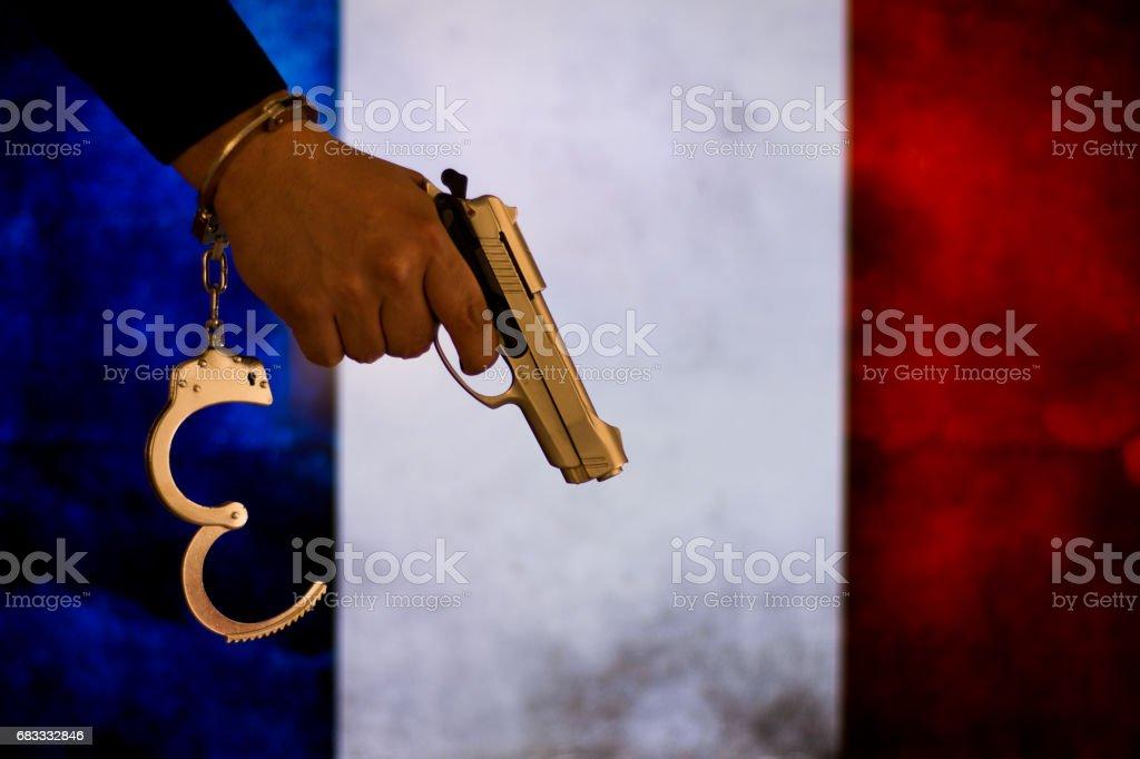 Crime and justice concept with handgun photo libre de droits
