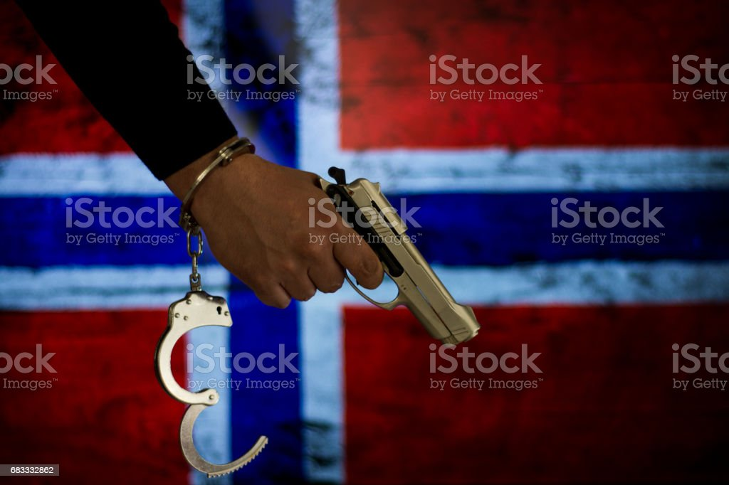 Crime and justice concept with handgun 免版稅 stock photo