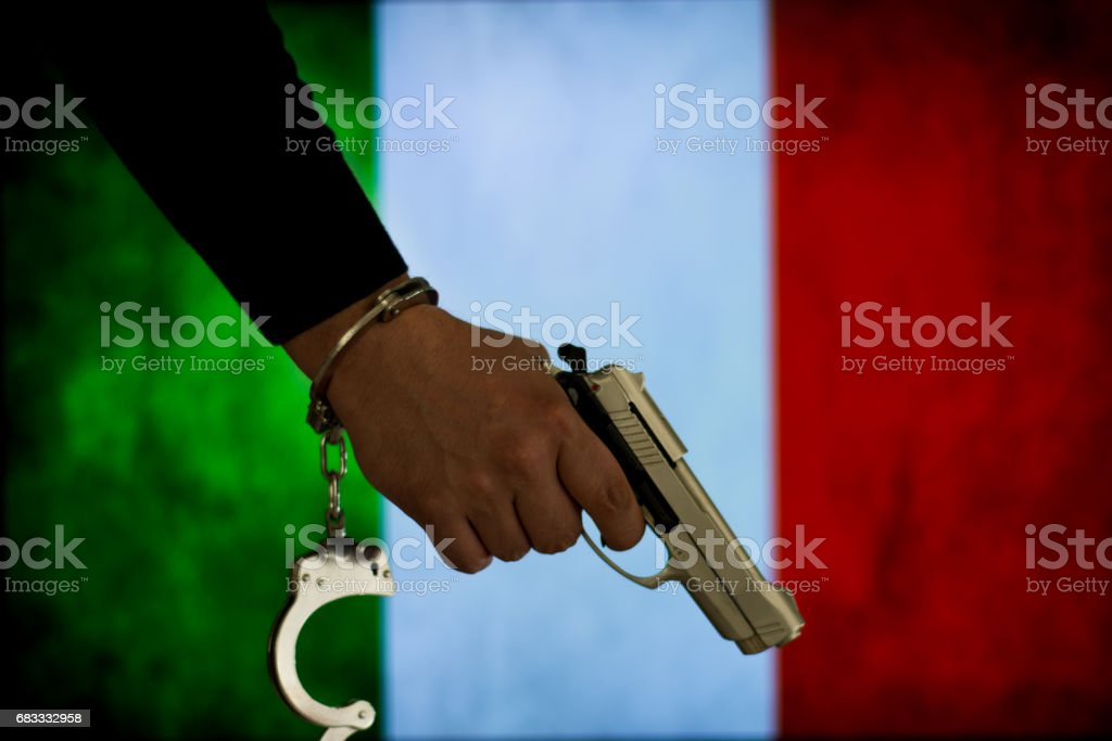 Crime and justice concept with handgun royalty-free stock photo