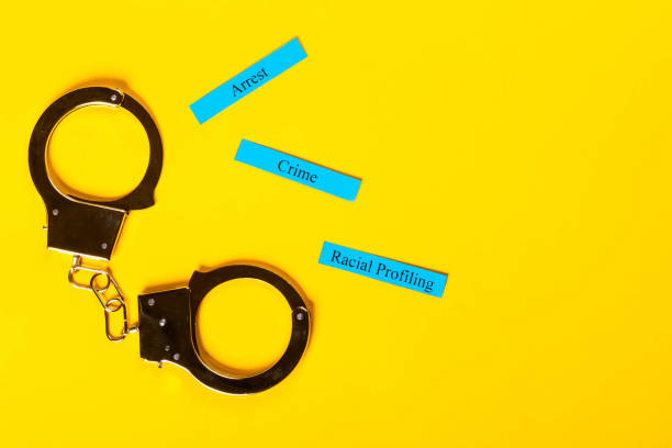 Crime Concept with handcuffs stock photo