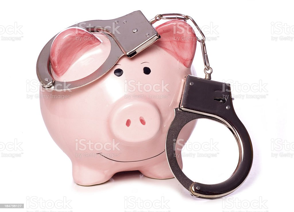 crime doesn't pay stock photo