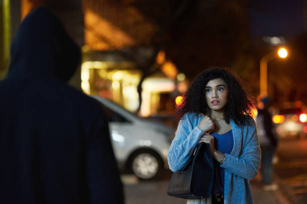 crime has become quite widespread in the city - stalking stock photos and pictures