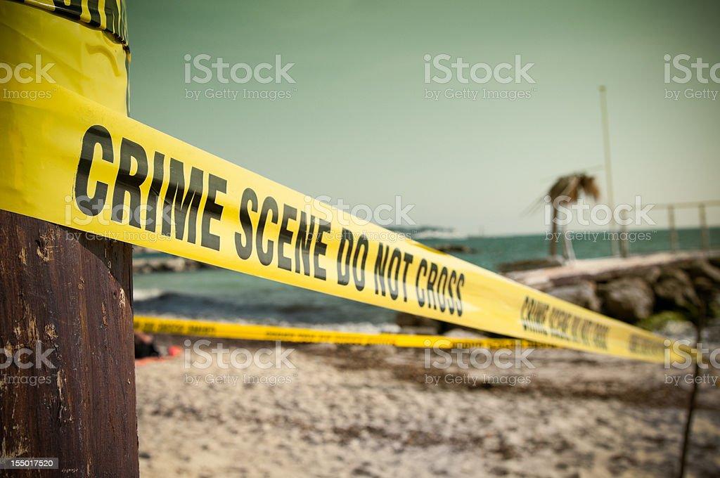 Crime Scene at the beach stock photo