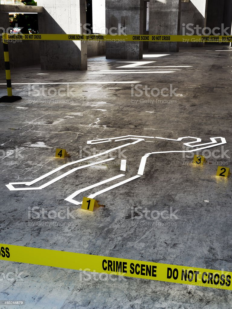 Crime scene close up stock photo