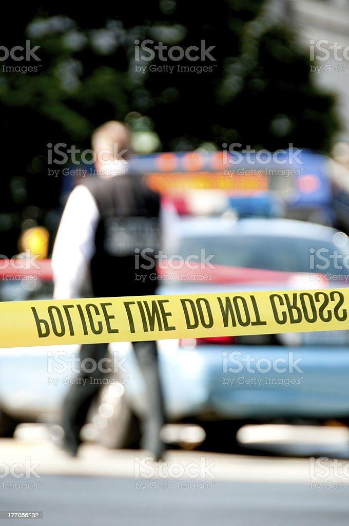 Crime Scene Cordon Tape royalty-free stock photo