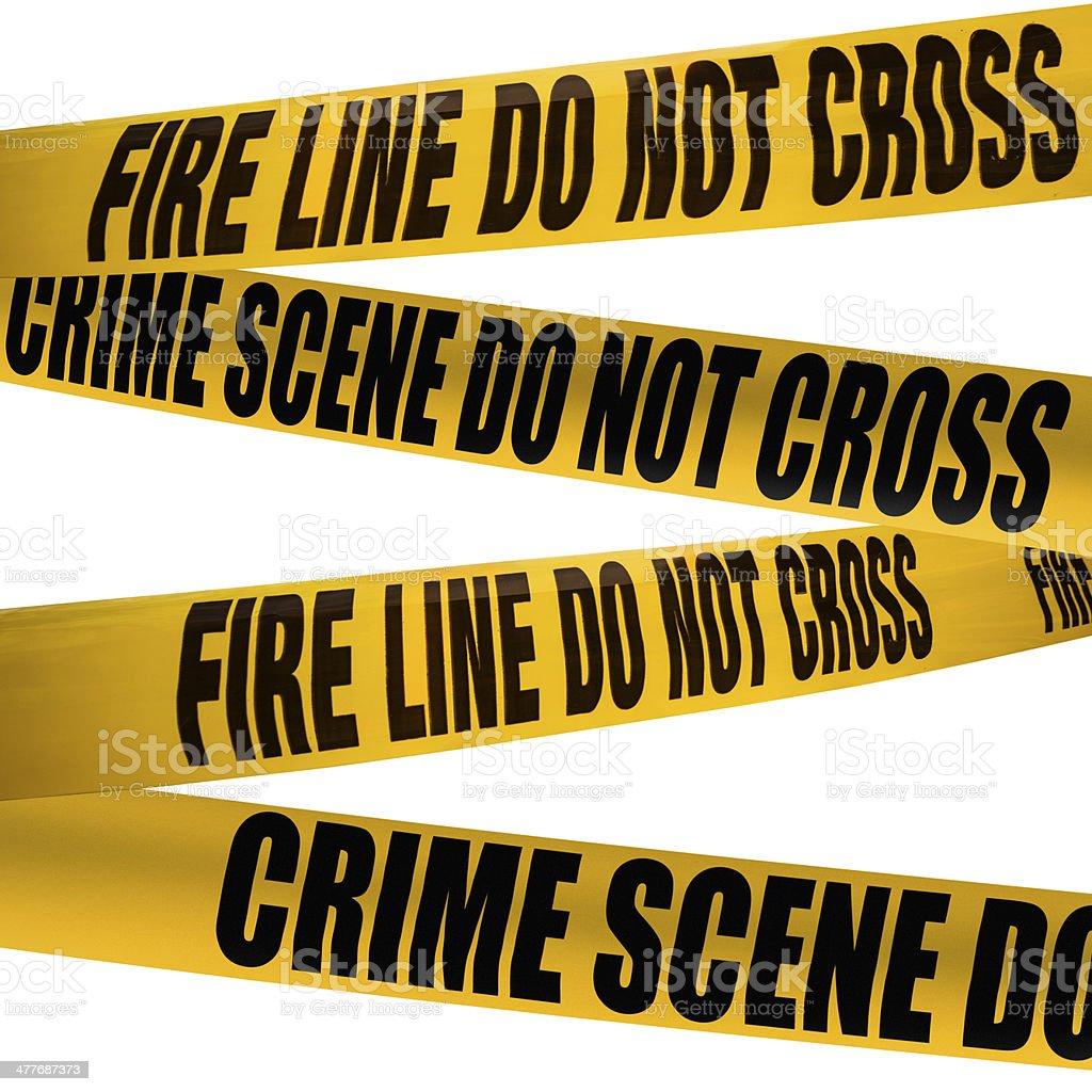 crime scene cordon tape stock photo
