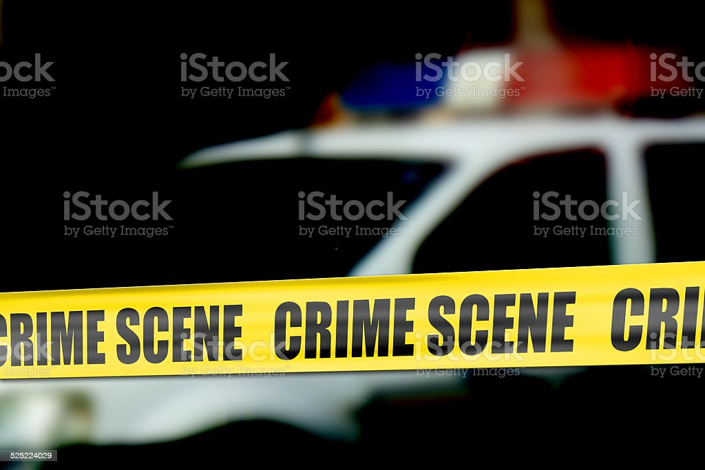Crime scene cordon tape stock photo