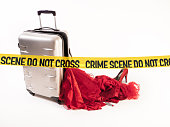 Crime scene Damaged Suitcase Spinner loses its content