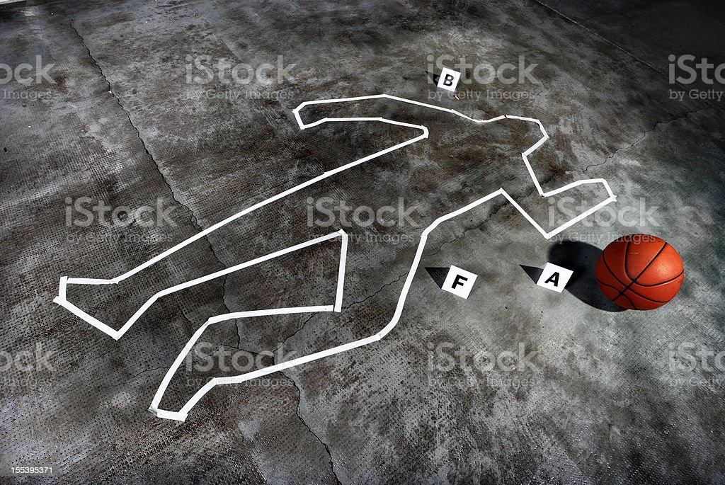 Crime scene - Death of a basketball player stock photo