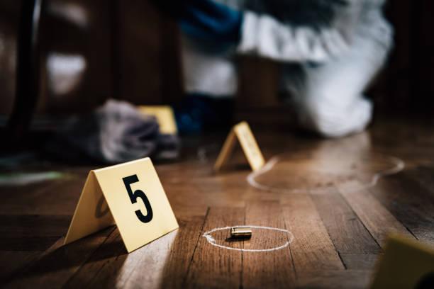 Tatort-Detektiv untersucht Beweise – Foto