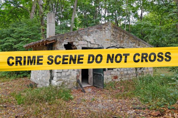 Crime scene do not cross - Cordon tape stock photo
