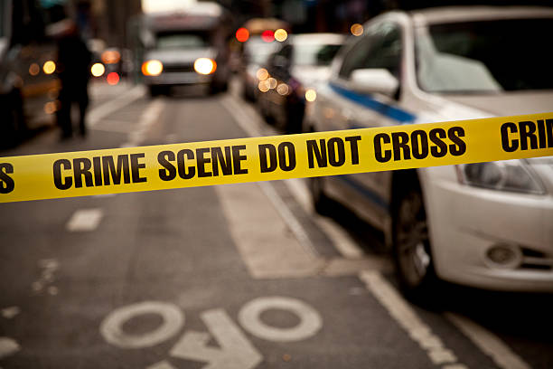 crime scene do not cross stock photo