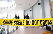 crime scene do not cross at building and law enforcment background