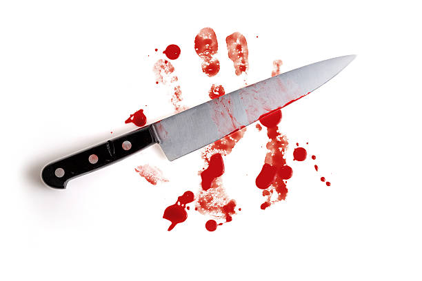 Crime scene evidence, knife and blood. stock photo