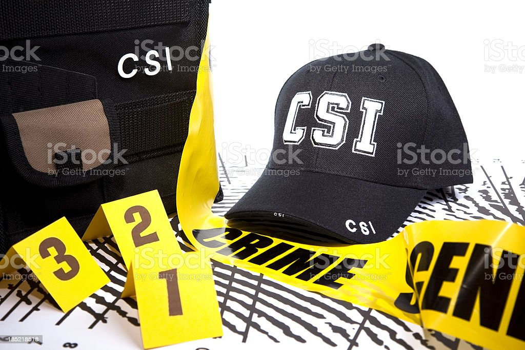 Crime scene gear on enlarged fingerprint poster stock photo