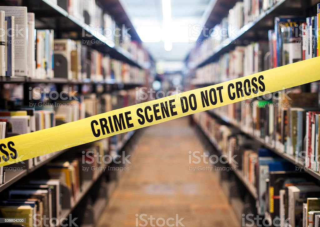 Crime Scene in Library stock photo