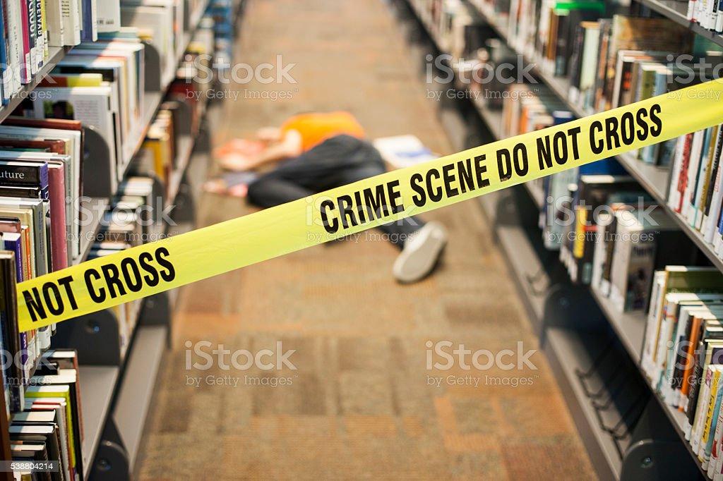 Crime Scene in Library stock photo