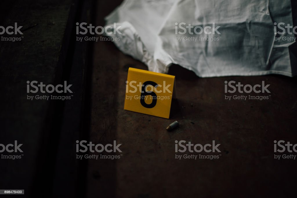 Crime scene investigation - evidence number 6 stock photo
