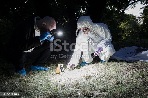 The forensic expert and the detective at the crime scene. The dead body is covered with the white sheet, now stained with victim's blood, and is lying in the clearing in the middle of the forest.