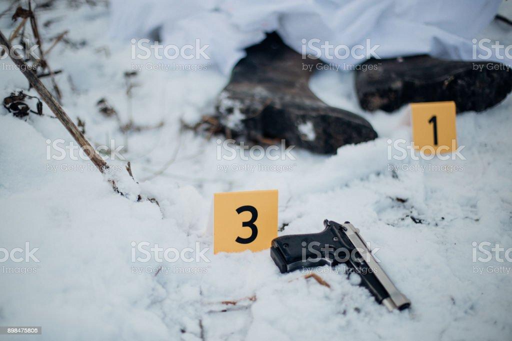 Crime scene investigation - victim and evidence stock photo