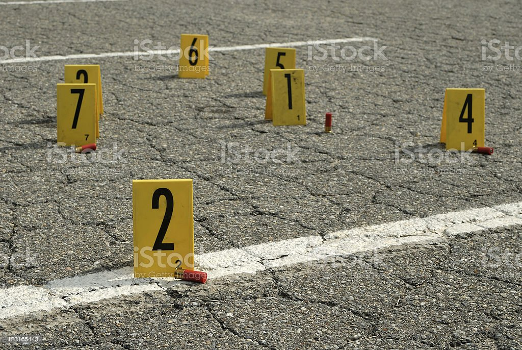 Crime Scene numbers stock photo