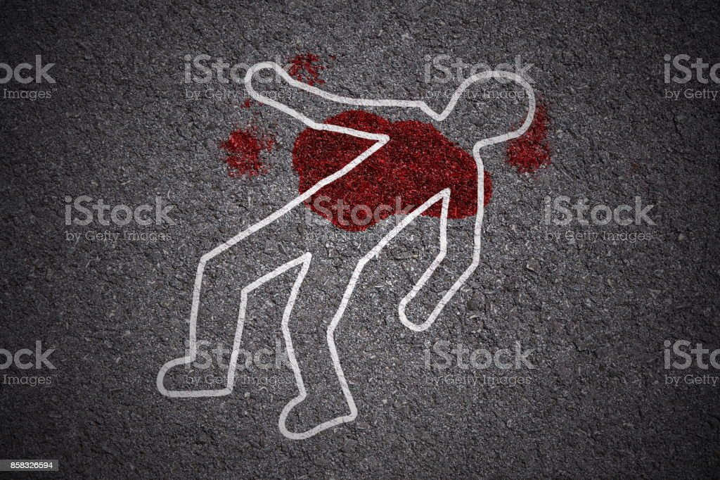 crime scene on street stock photo