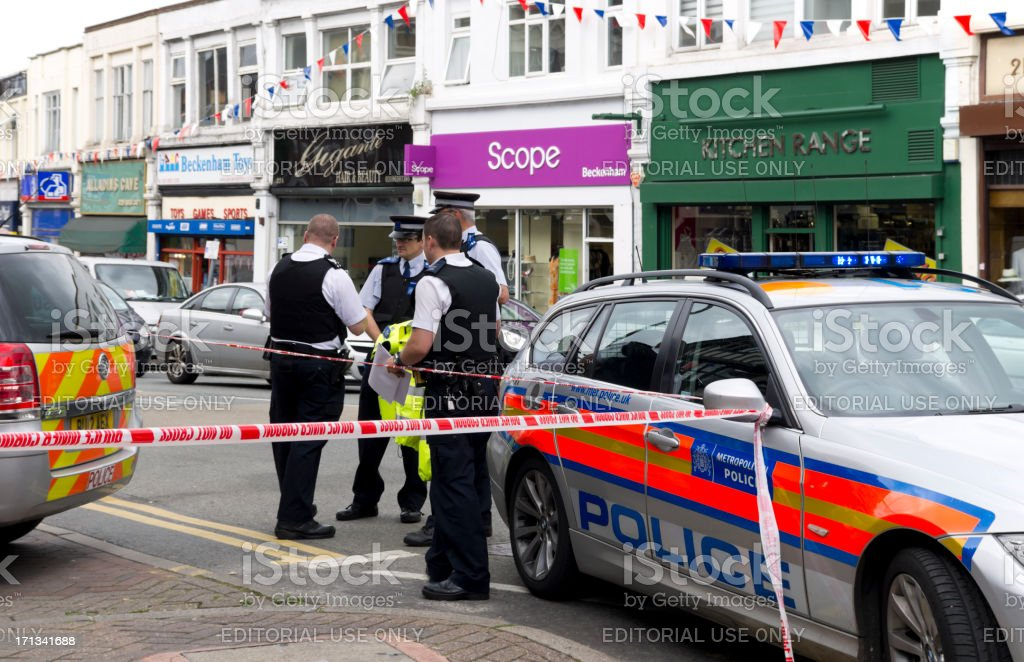 Crime scene - police investigating stock photo