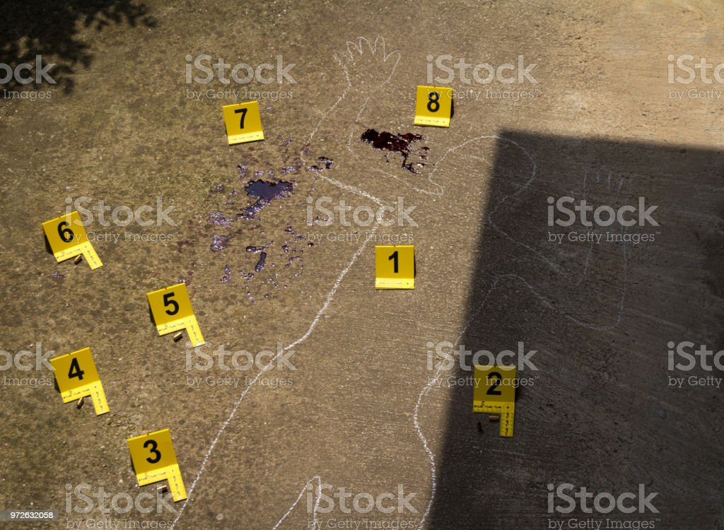 Crime scene. Shape of body on concrete texture stock photo