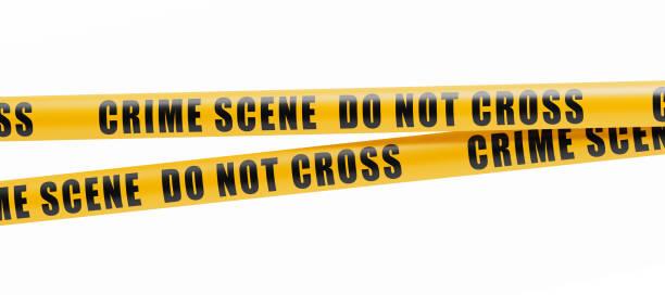 Crime Scene Tape Barrier On White Background stock photo