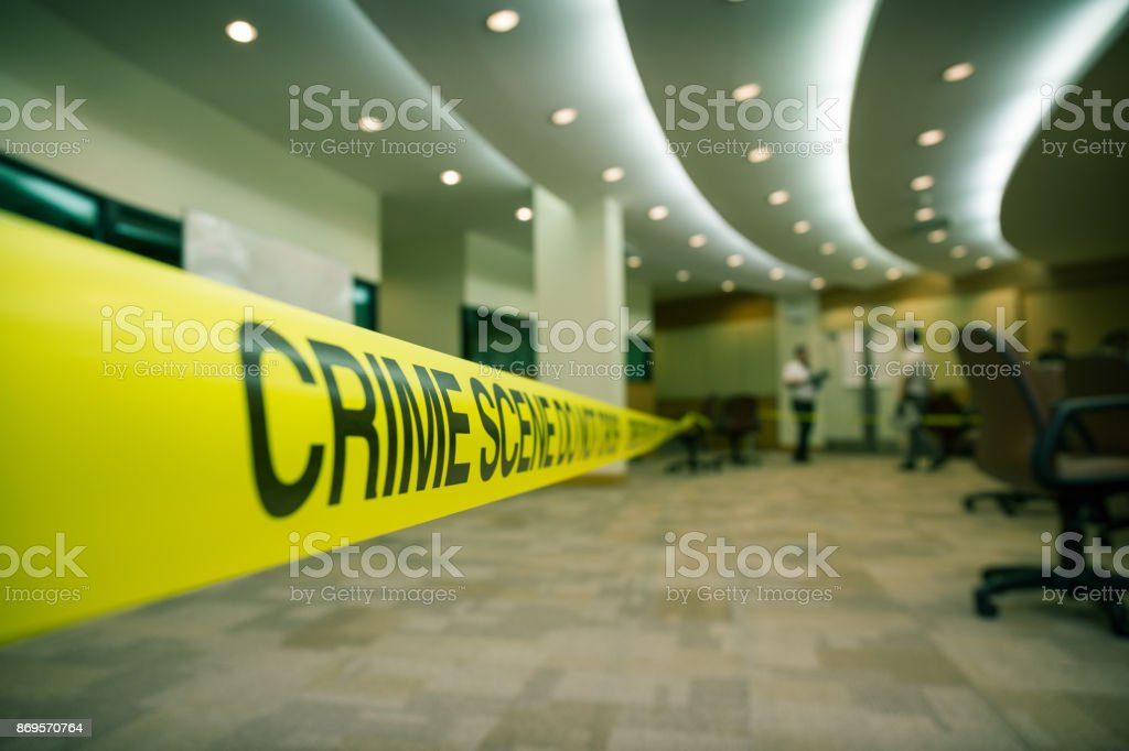 crime scene tape of  mysterious case in cenematic tone stock photo