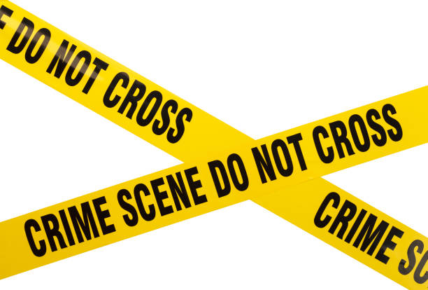Crime Scene Tape Yellow Plastic Crime Scene Do Not Cross Tape Isolated On White Background. tape stock pictures, royalty-free photos & images