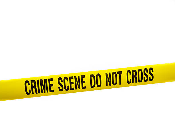 """Crime Scene Tape with Clipping Path Yellow crime scene tape against a white background.  A clipping path is included so this tape can easily be inserted over other images to create an instant """"Crime Scene"""". crime stock pictures, royalty-free photos & images"""