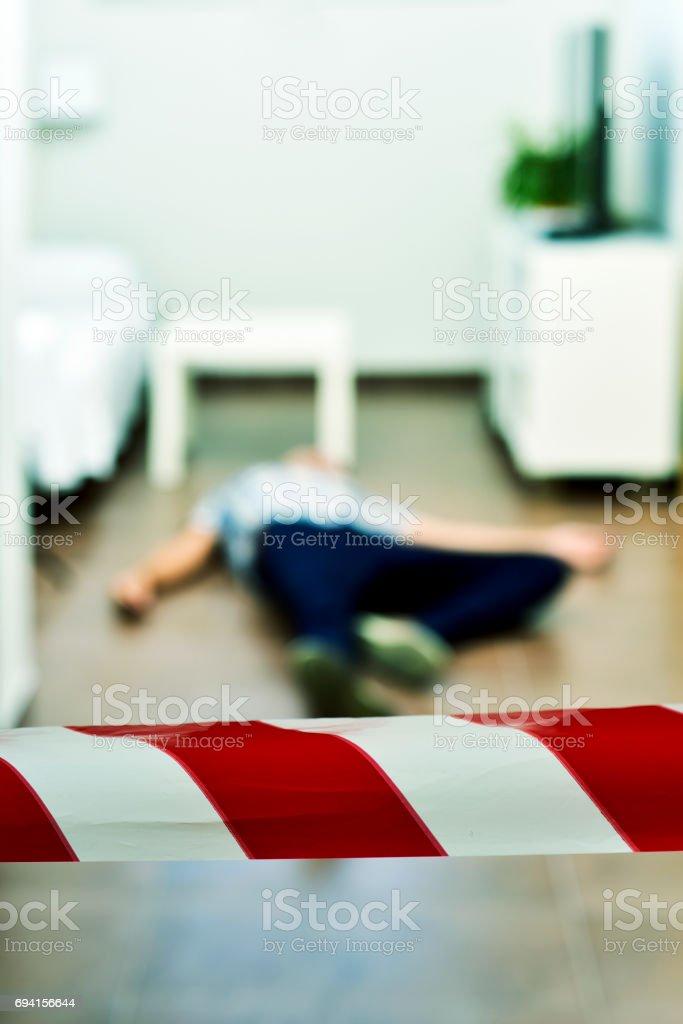 crime scene with dead body stock photo
