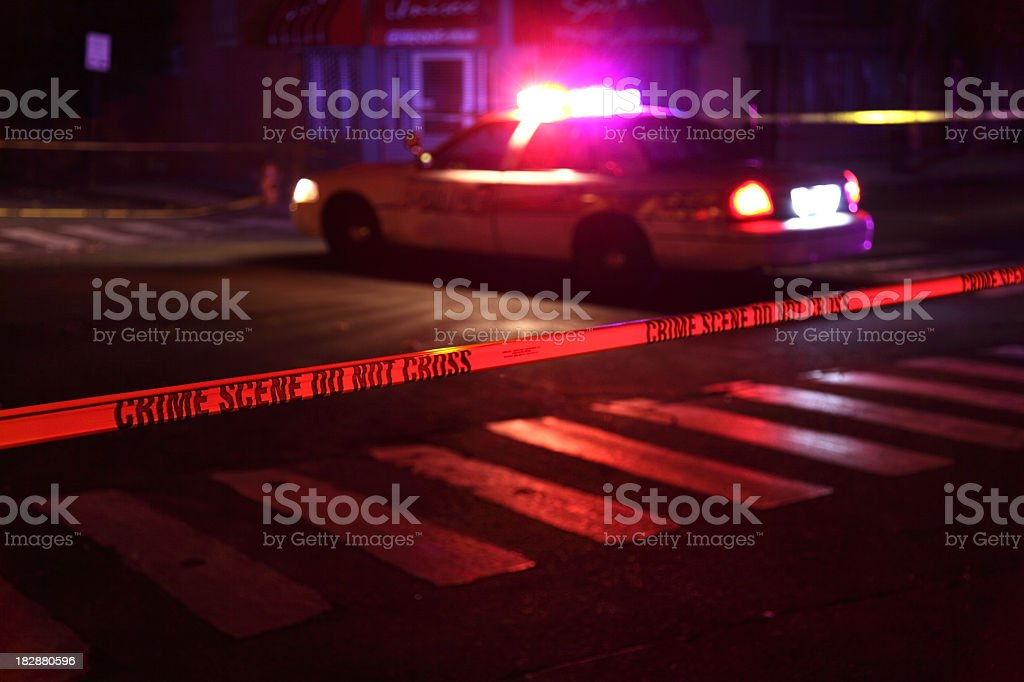 Crime Scene with Police Car stock photo
