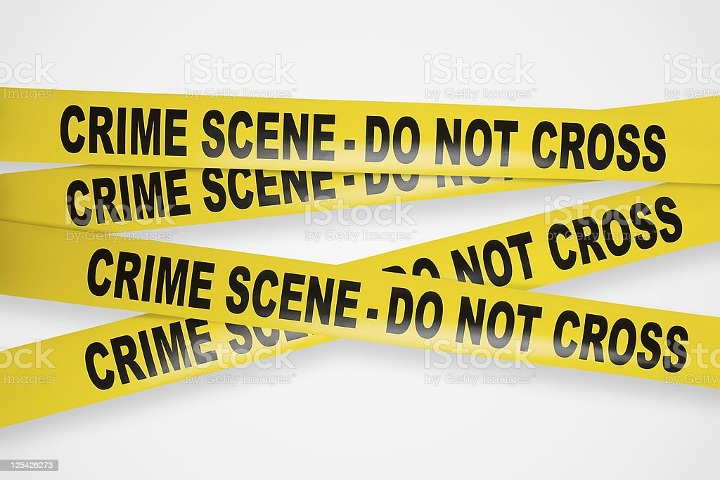 Crime scene yellow tapes with clipping path stock photo