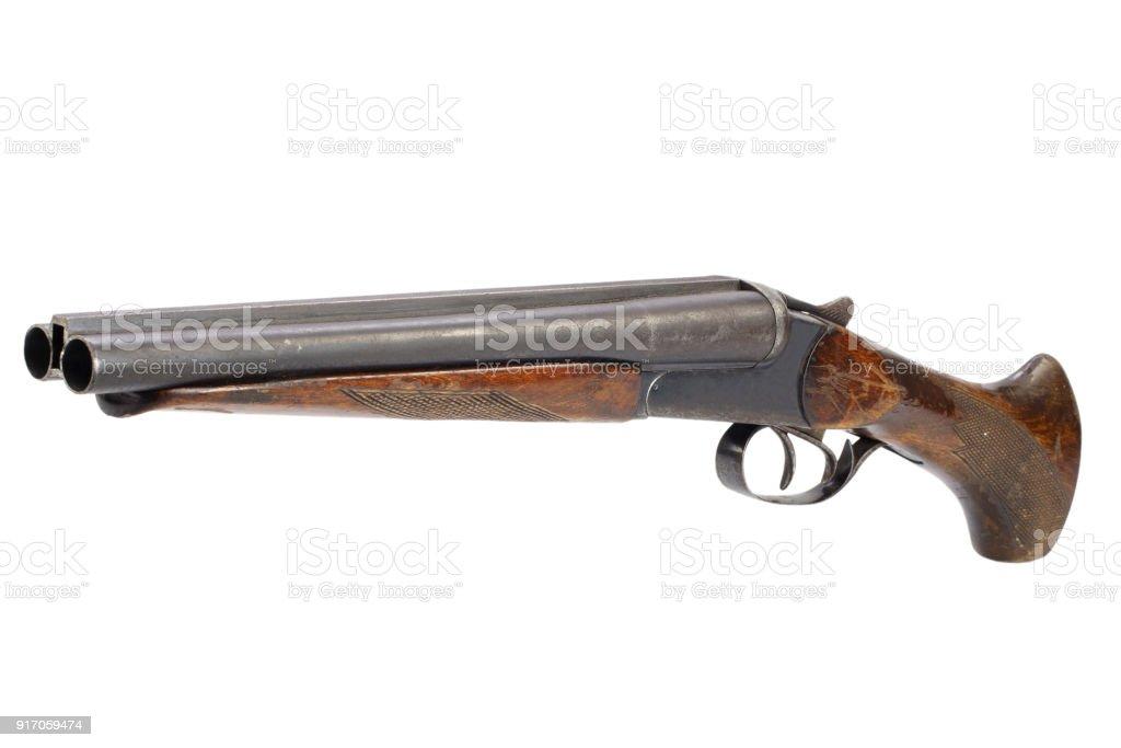 Crime weapon - sawn off shotgun stock photo
