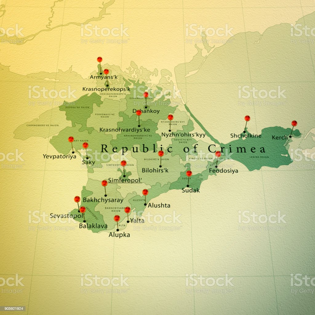 Crimea Map Square Cities Straight Pin Vintage stock photo