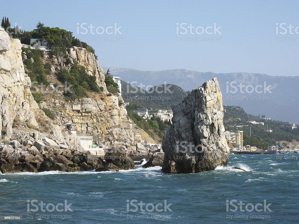 Crimea on Black sea, rock 'Sail' royalty-free stock photo