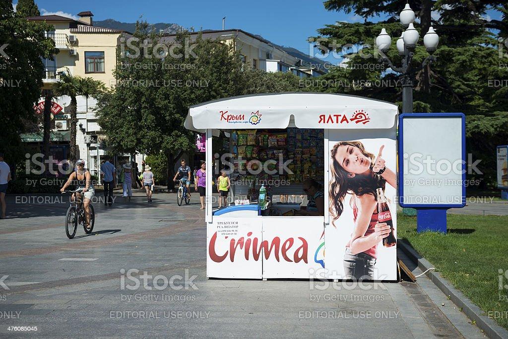 Crimean city of Yalta and Coca-Cola ad stock photo