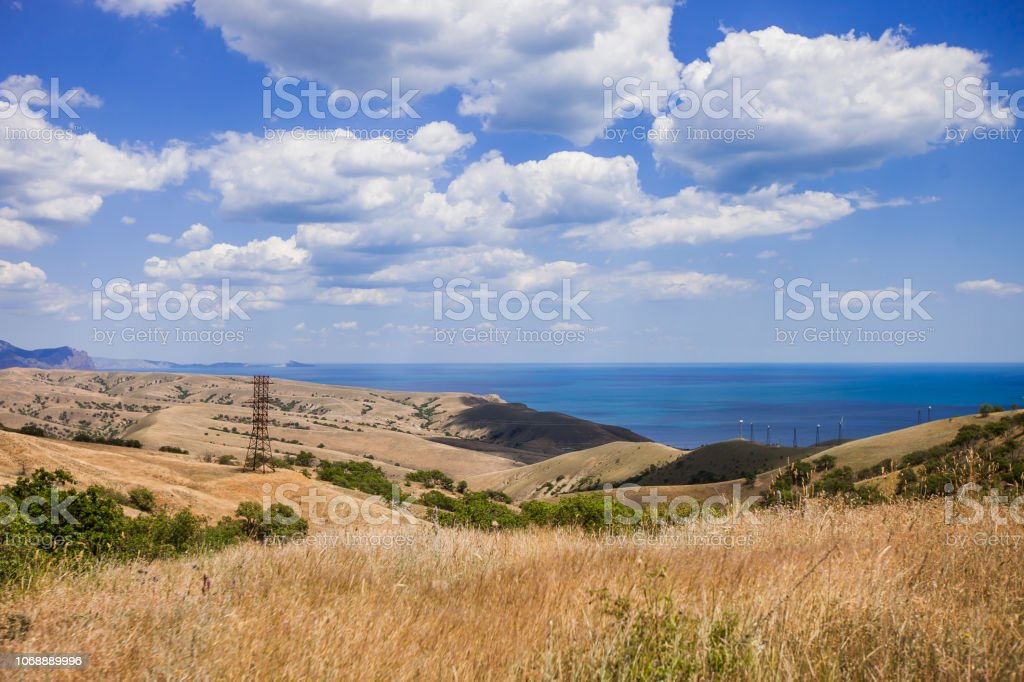 Crimean mountains on the background of the Black Sea