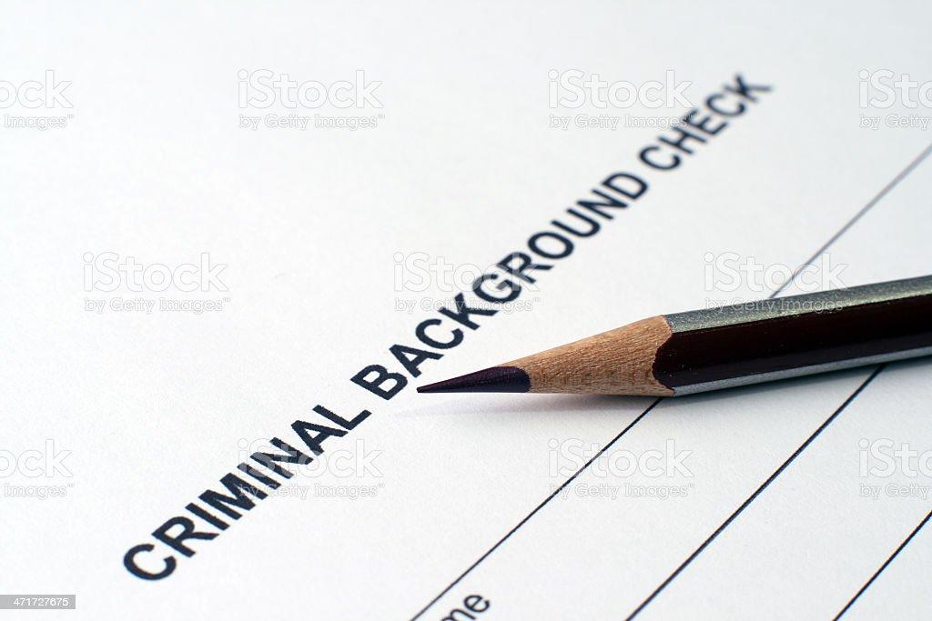 Criminal background form stock photo
