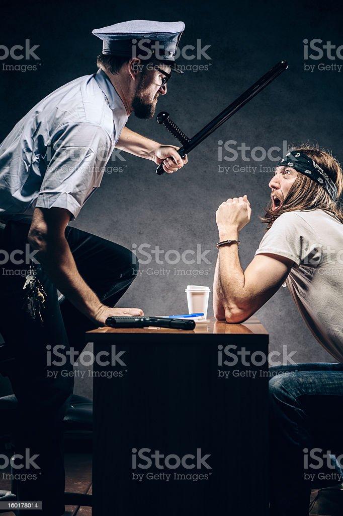 Criminal Gets Police Chief Interrogation stock photo