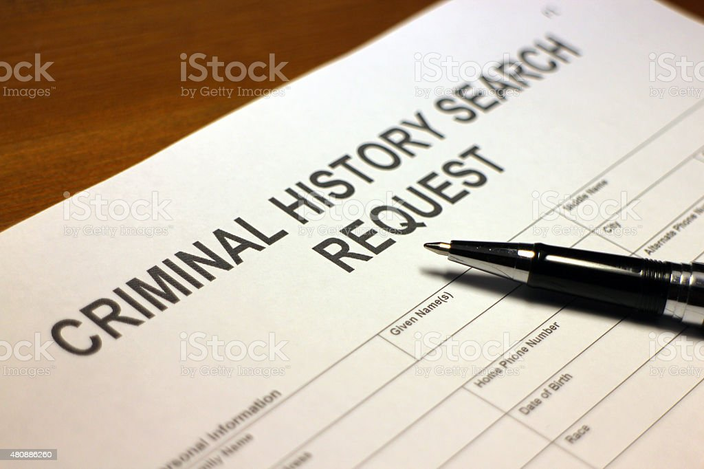 Criminal History Search Request stock photo