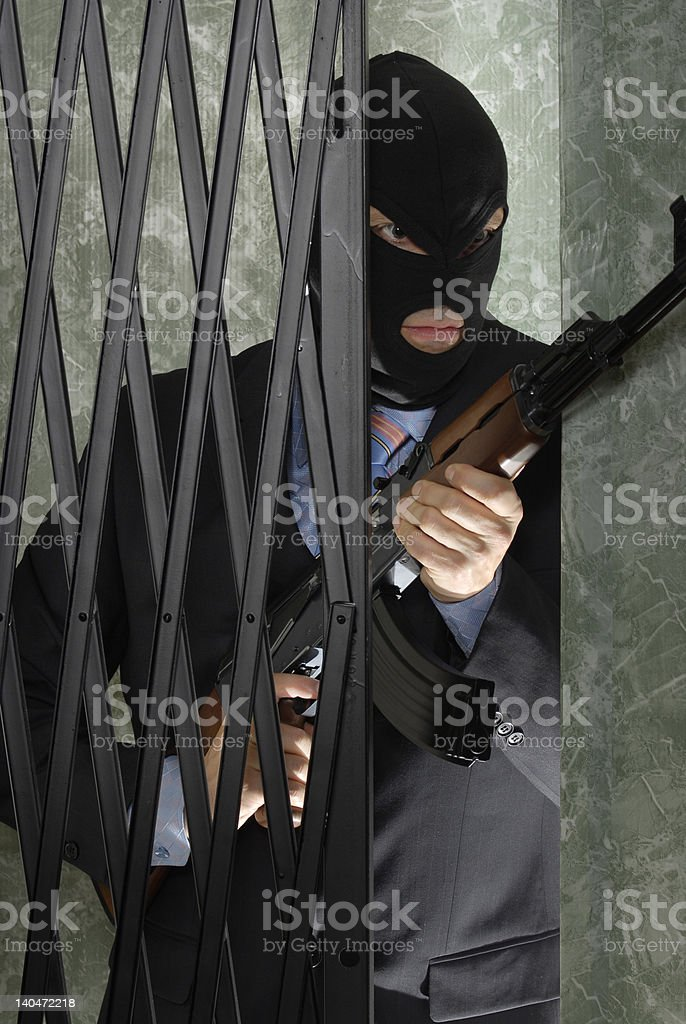 Criminal in the elevator royalty-free stock photo