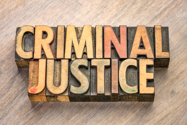 criminal justice words in wood type stock photo