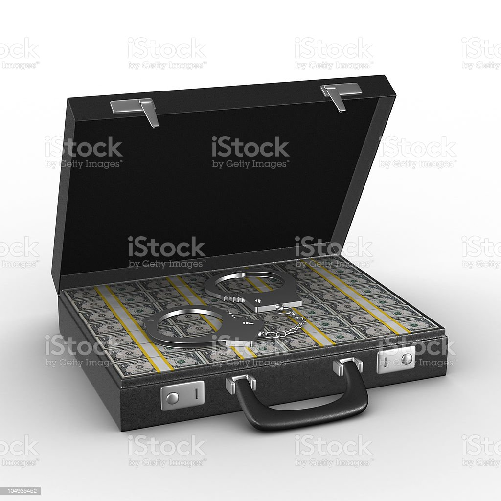 Criminal money in suitcase. Isolated 3D image royalty-free stock photo