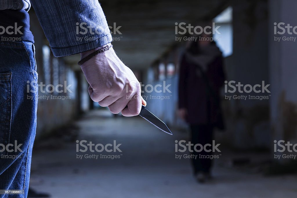 Criminal with Knife stock photo